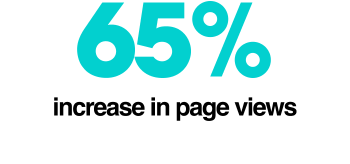 65% increase in page views